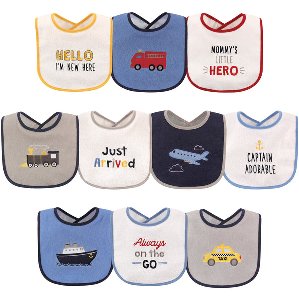 Luvable Friends Cotton Terry Drooler Bibs with PEVA Back, Transportation