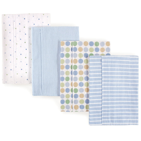 Luvable Friends Cotton Flannel Burp Cloths, Blue Dots