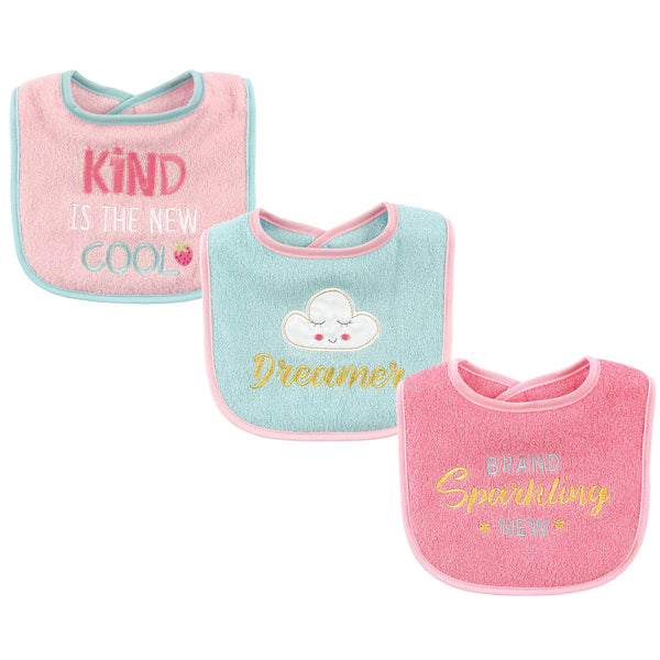 Luvable Friends Cotton Drooler Bibs with Fiber Filling, Dreamer
