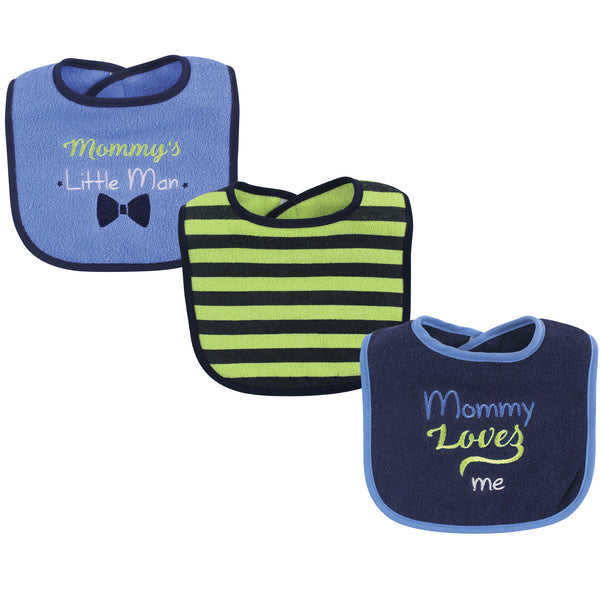 Luvable Friends Cotton Drooler Bibs with Fiber Filling, Boy Mommy