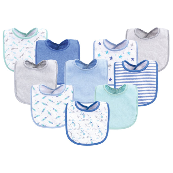 Luvable Friends Cotton Terry Bibs, Boy Elephant Stars