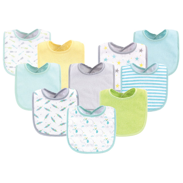 Luvable Friends Cotton Terry Bibs, Neutral Elephant Stars