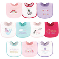 Luvable Friends Cotton Drooler Bibs with Fiber Filling, Unicorns And Mermaids