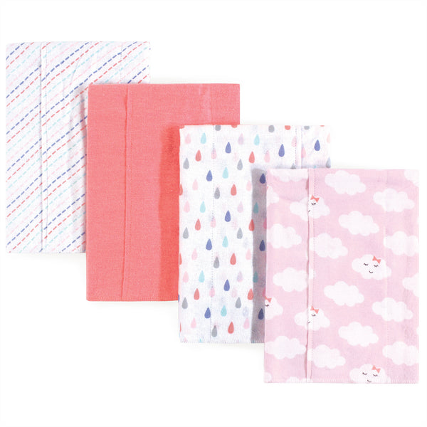 Luvable Friends Cotton Flannel Burp Cloths, Girl Clouds
