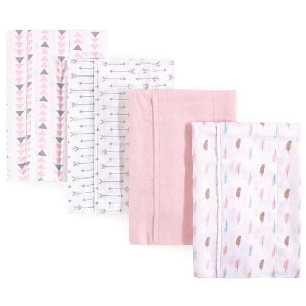 Luvable Friends Cotton Flannel Burp Cloths, Girl Feathers