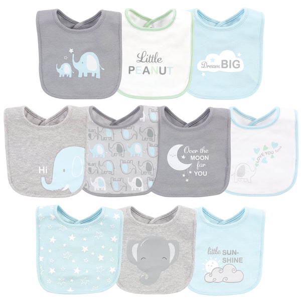 Luvable Friends Interlock Cotton Drooler Bibs, Boy Basic Elephant, One Size