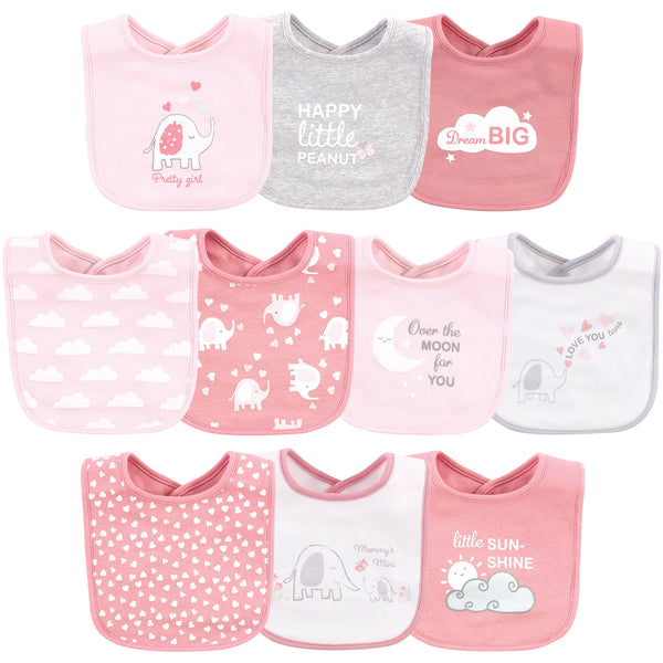 Luvable Friends Interlock Cotton Drooler Bibs, Girl Basic Elephant, One Size