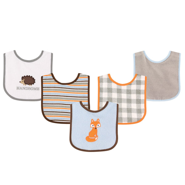 Luvable Friends Cotton Terry Drooler Bibs with PEVA Back, Fox