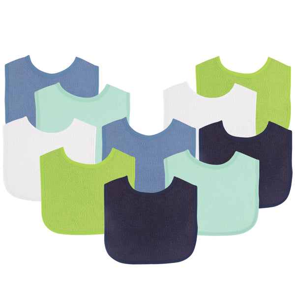 Luvable Friends Cotton Terry Bibs, Boy Solid Green