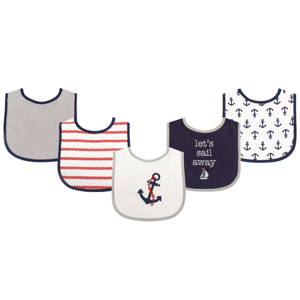 Luvable Friends Cotton Terry Drooler Bibs with PEVA Back, Boy Nautical