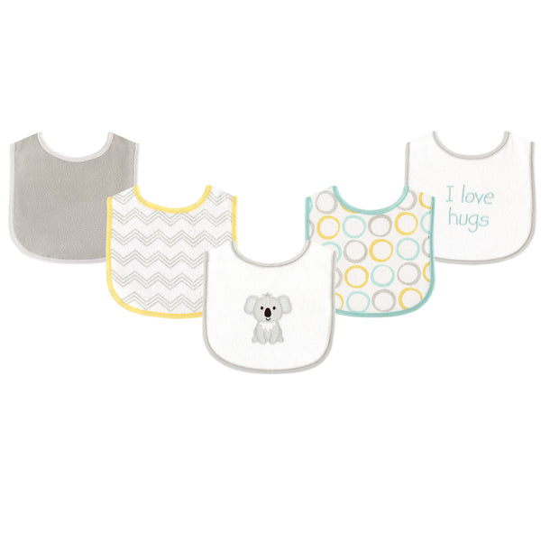 Luvable Friends Cotton Terry Drooler Bibs with PEVA Back, Koala