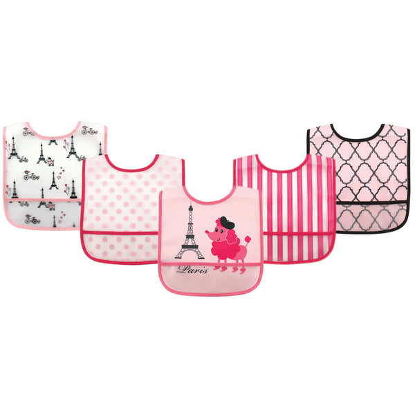 Luvable Friends Waterproof PEVA Bibs, French Poodle