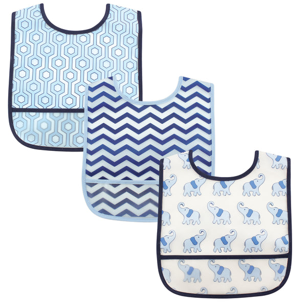 Luvable Friends Waterproof PEVA Bibs, Boy Elephant