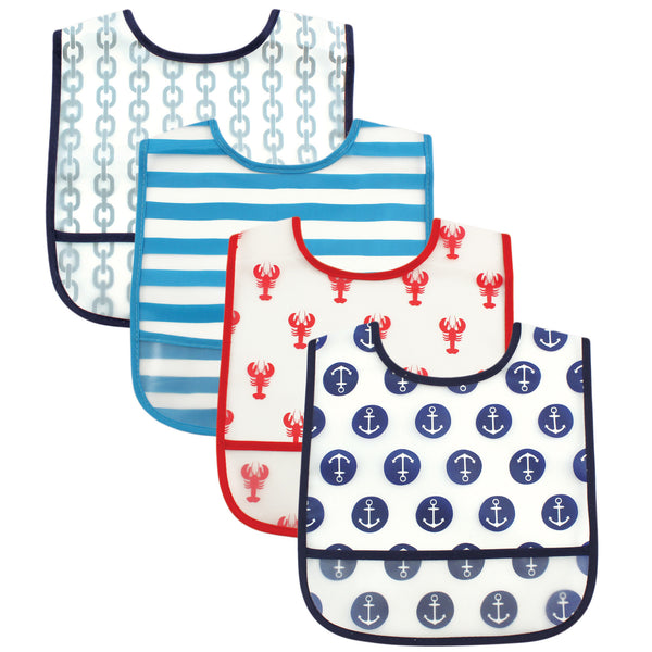 Luvable Friends Waterproof PEVA Bibs, Nautical