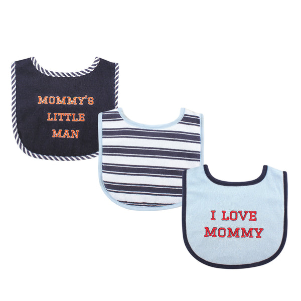 Luvable Friends Cotton Drooler Bibs with Fiber Filling, Boy Mommy 3-Pack