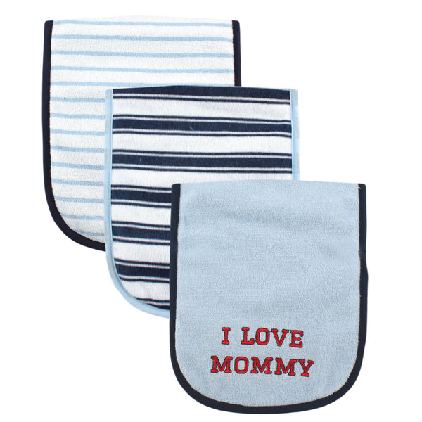 Luvable Friends Cotton Burp Cloths with Fiber Filling, Boy Mommy