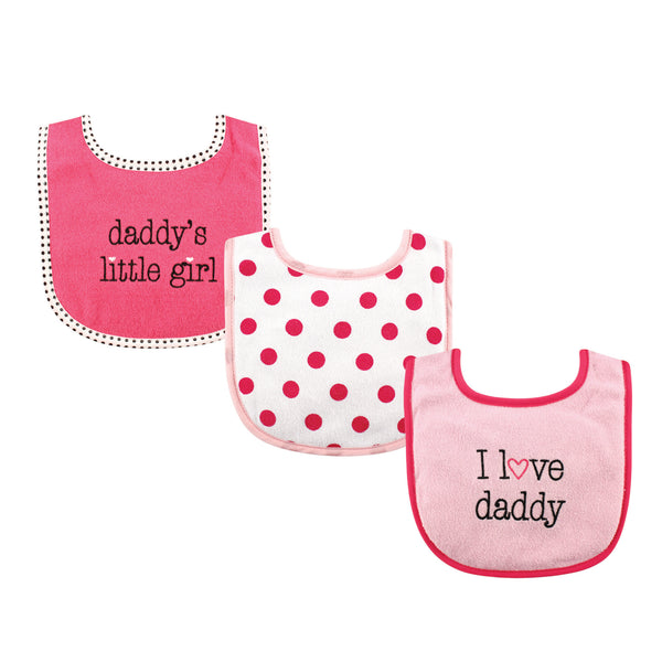 Luvable Friends Cotton Drooler Bibs with Fiber Filling, Girl Daddy 3-Pack