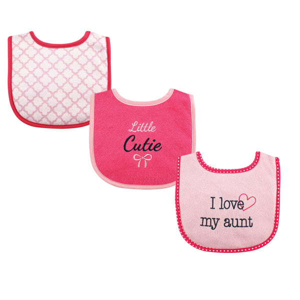Luvable Friends Cotton Drooler Bibs with Fiber Filling, Girl Aunt