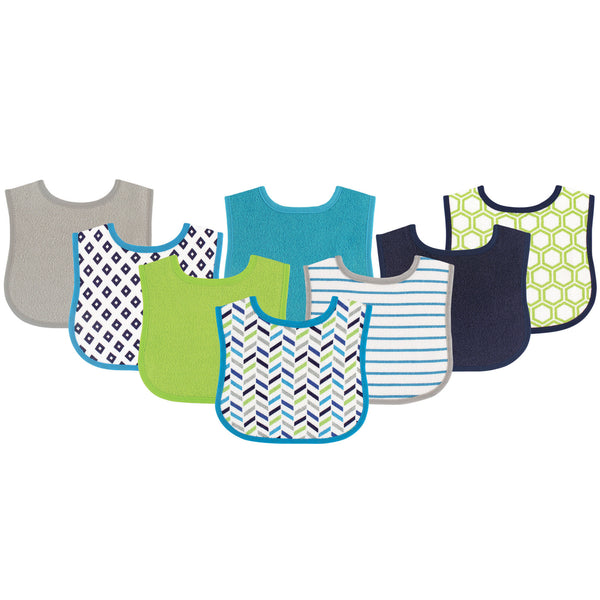 Luvable Friends Cotton Terry Bibs, Geometric Boy