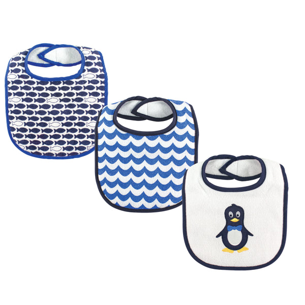 Luvable Friends Cotton Drooler Bibs with Fiber Filling, Mr Penguin