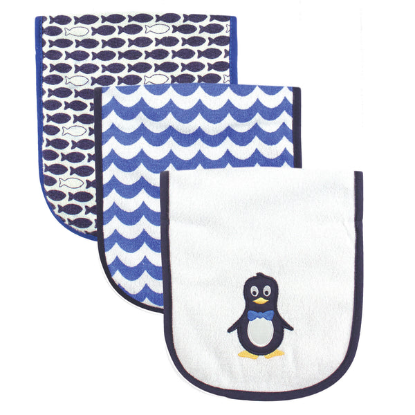 Luvable Friends Cotton Burp Cloths with Fiber Filling, Mr. Penguin