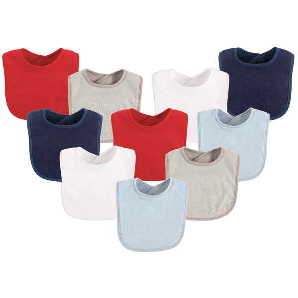 Luvable Friends Cotton Terry Bibs, Boy Solid