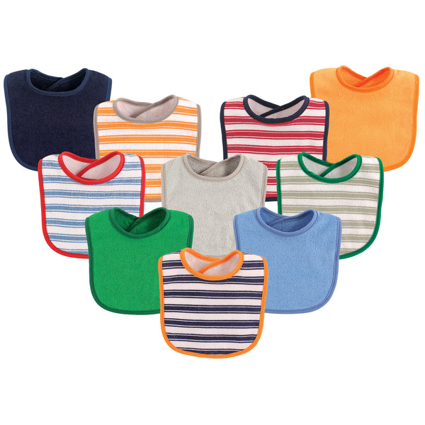 Luvable Friends Cotton Terry Bibs, Boy Stripe