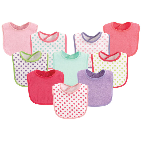 Luvable Friends Cotton Terry Bibs, Girl Dot