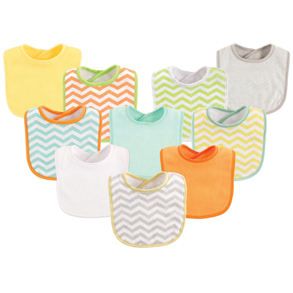 Luvable Friends Cotton Terry Bibs, Neutral Chevron