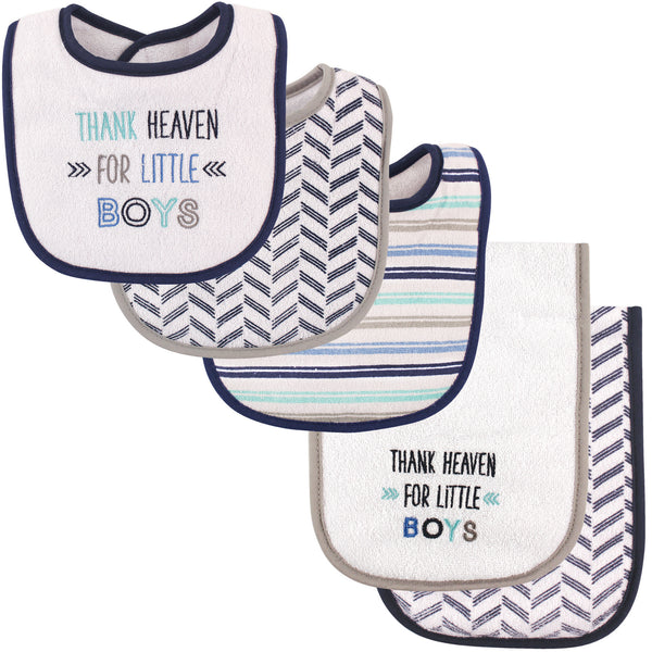 Luvable Friends Bib and Burp Cloth Set, Boy Thank Heaven