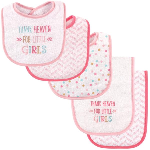 Luvable Friends Bib and Burp Cloth Set, Girl Thank Heaven