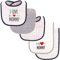 Luvable Friends Bib and Burp Cloth Set, Boy Mommy