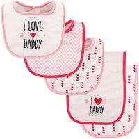 Luvable Friends Bib and Burp Cloth Set, Girl Daddy