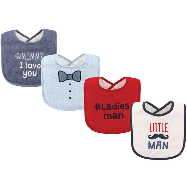 Luvable Friends Cotton Drooler Bibs with Fiber Filling, Little Man
