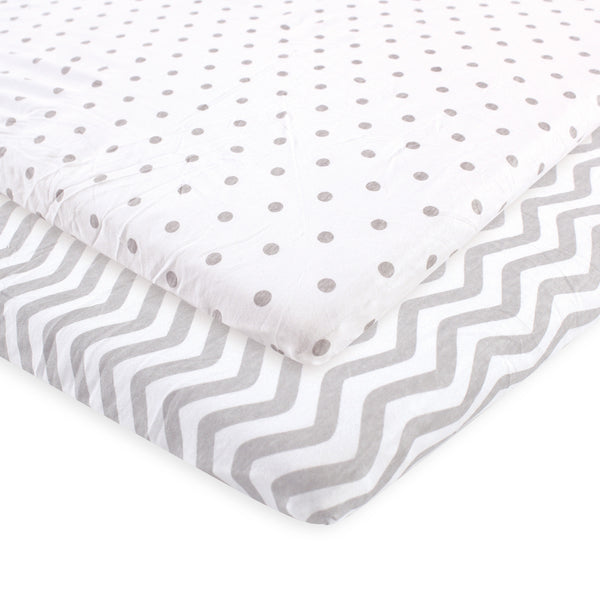 Luvable Friends Fitted Playard Sheet, Gray Chevron Dot