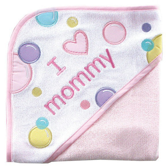 Luvable Friends Hooded Towel, Pink Mom