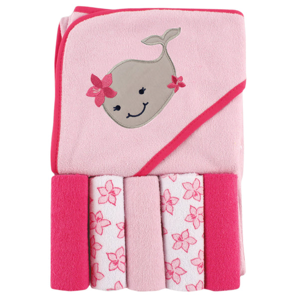 Luvable Friends Hooded Towel with Five Washcloths, Girly Whale