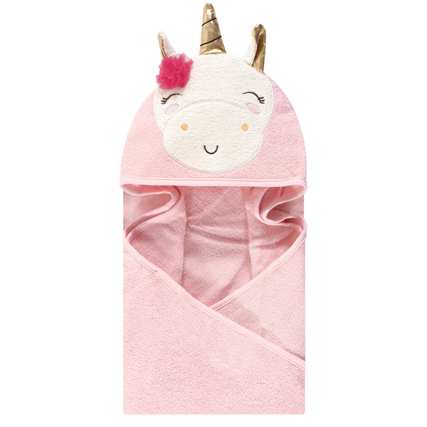 Luvable Friends Cotton Animal Face Hooded Towel, Unicorn Flower