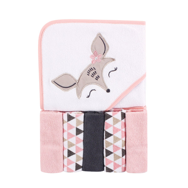 Luvable Friends Hooded Towel with Five Washcloths, Deer