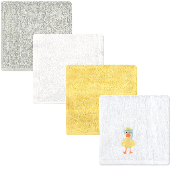 Luvable Friends Super Soft Cotton Washcloths, Scuba Duck