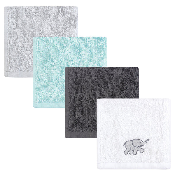 Luvable Friends Super Soft Cotton Washcloths, Gray Elephant