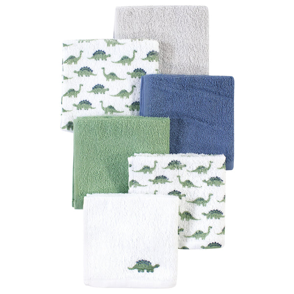 Luvable Friends Super Soft Cotton Washcloths, Dinosaur