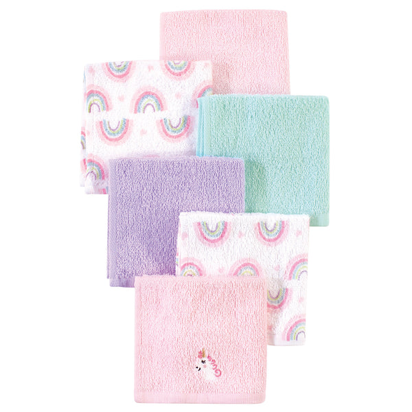 Luvable Friends Super Soft Cotton Washcloths, Unicorn And Rainbow