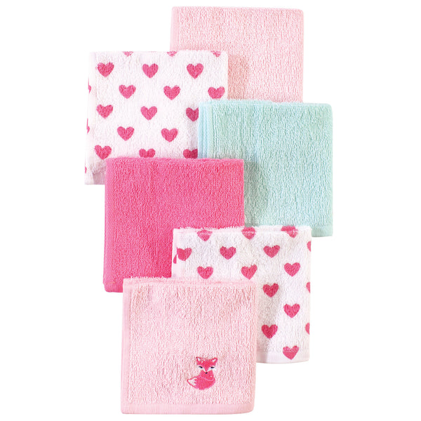 Luvable Friends Super Soft Cotton Washcloths, Fox And Hearts