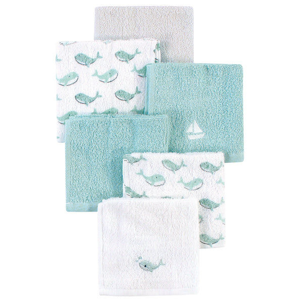Luvable Friends Super Soft Cotton Washcloths, Blue Whale