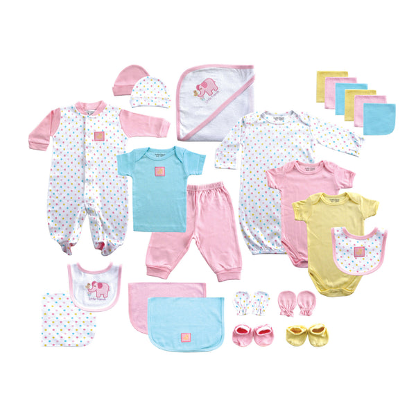 Luvable Friends Layette Gift Cube, Pink Elephant