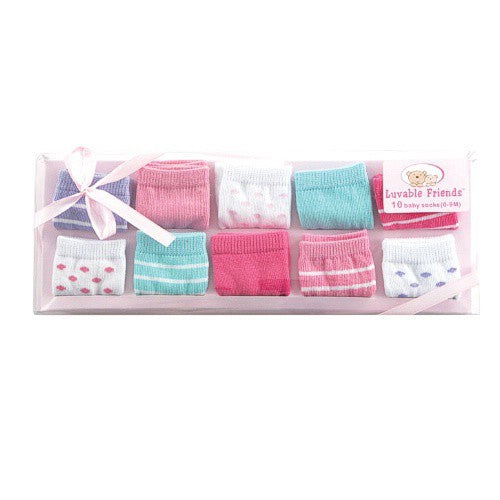 Luvable Friends Socks Giftset, Pink 10-Pack