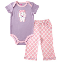 Hudson Baby Cotton Bodysuit and Pant Set, Purple Puppy