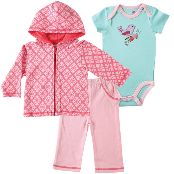 Hudson Baby Cotton Hoodie, Bodysuit or Tee Top and Pant Set, Bird