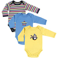 Hudson Baby Cotton Long-Sleeve Bodysuits, Penguin 3-Pack